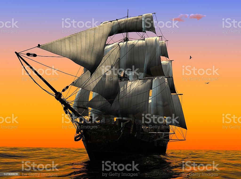 The ancient ship royalty-free stock photo