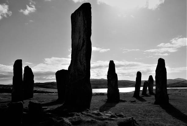 The Ancient Stones of Callanish in Monochrome, Isle of Lewis, Outer Hebrides, Scotland stock photo