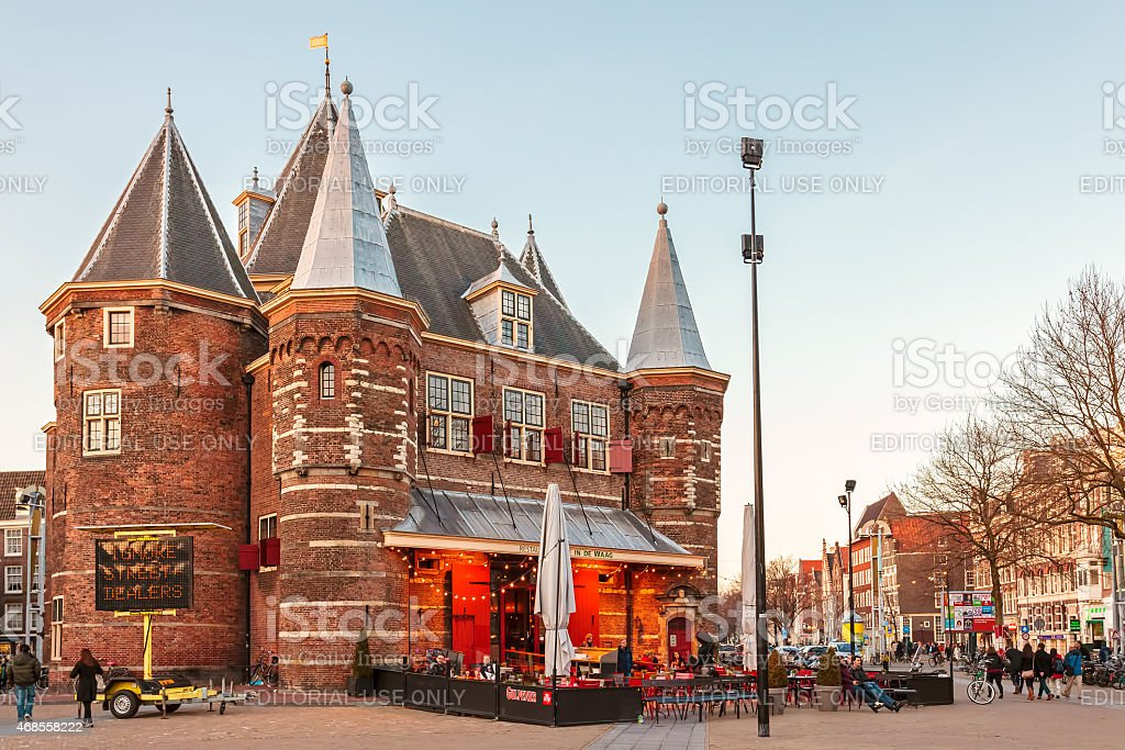 The ancient stronghold The 'Waag' in Amsterdam, The Netherlands stock photo