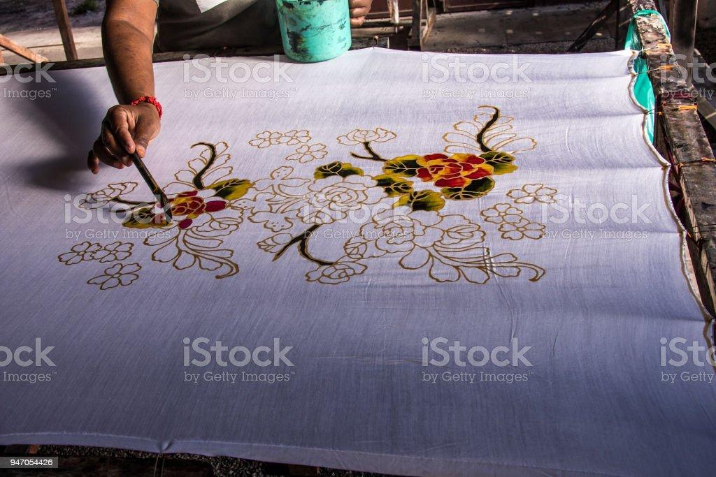 the ancient technique of Malay batik art stock photo