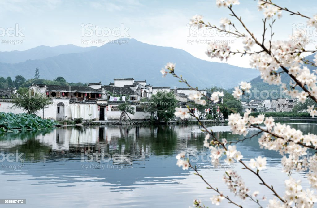 The ancient village of Hongcun, Anhui, China. stock photo