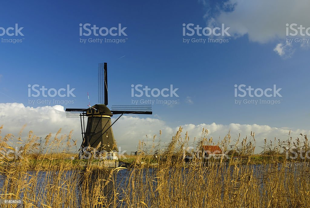 The ancient windmills of Kinderdijk royalty-free stock photo