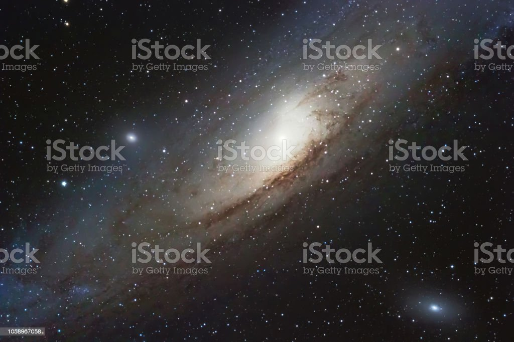 The Andromeda Galaxy, spiral galaxy in the constellation of Andromeda Messier 31 M31 stock photo