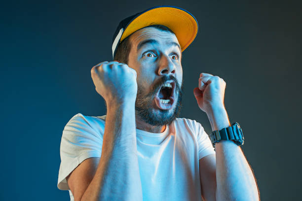 The anger and screaming man stock photo