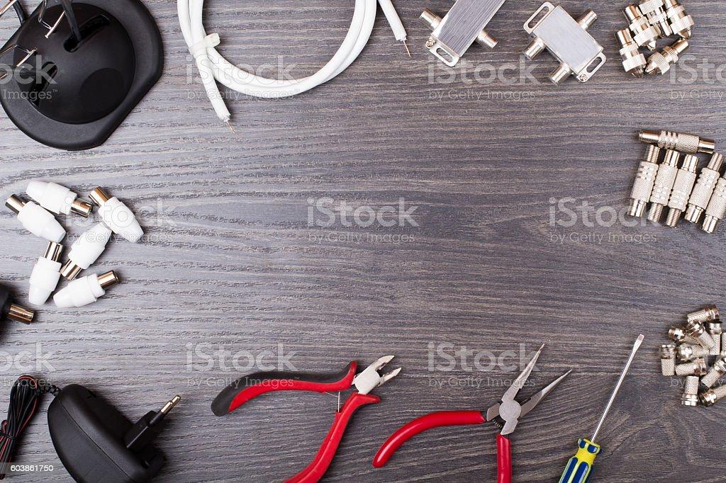 The antenna equipment, plugs, tools stock photo