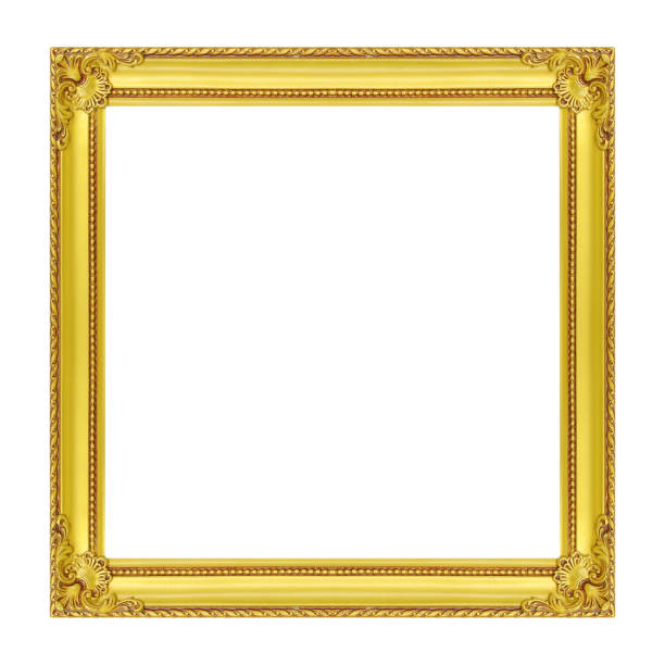 Cтоковое фото The antique gold frame isolated on white background
