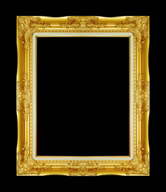 Cтоковое фото The antique gold frame on the black background