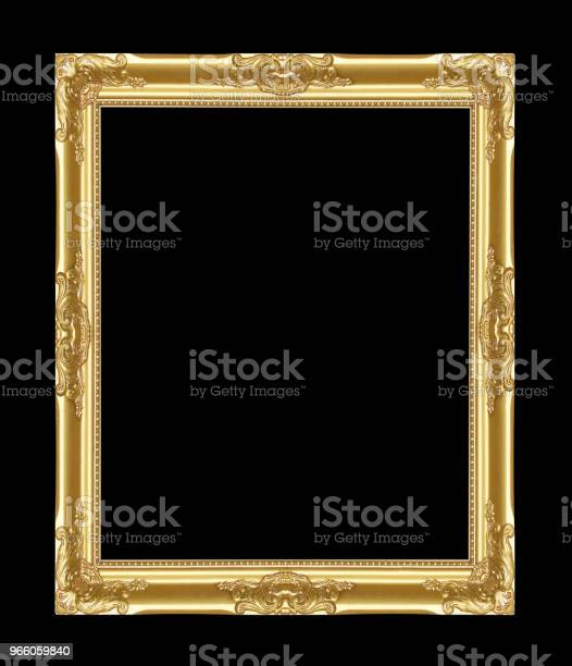 Ramen För Antik Guld På Svart Bakgrund-foton och fler bilder på Antik