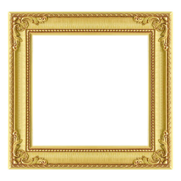 Cтоковое фото The antique gold frame on the white background