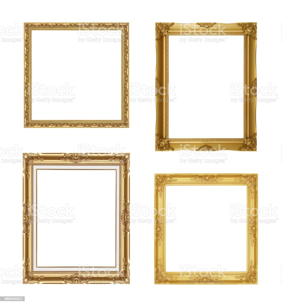 The antique gold frame on the white background - Стоковые фото Антиквариат роялти-фри