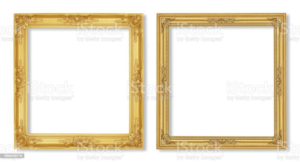 Den antika guld ram på den vita bakgrunden - Royaltyfri Antik Bildbanksbilder