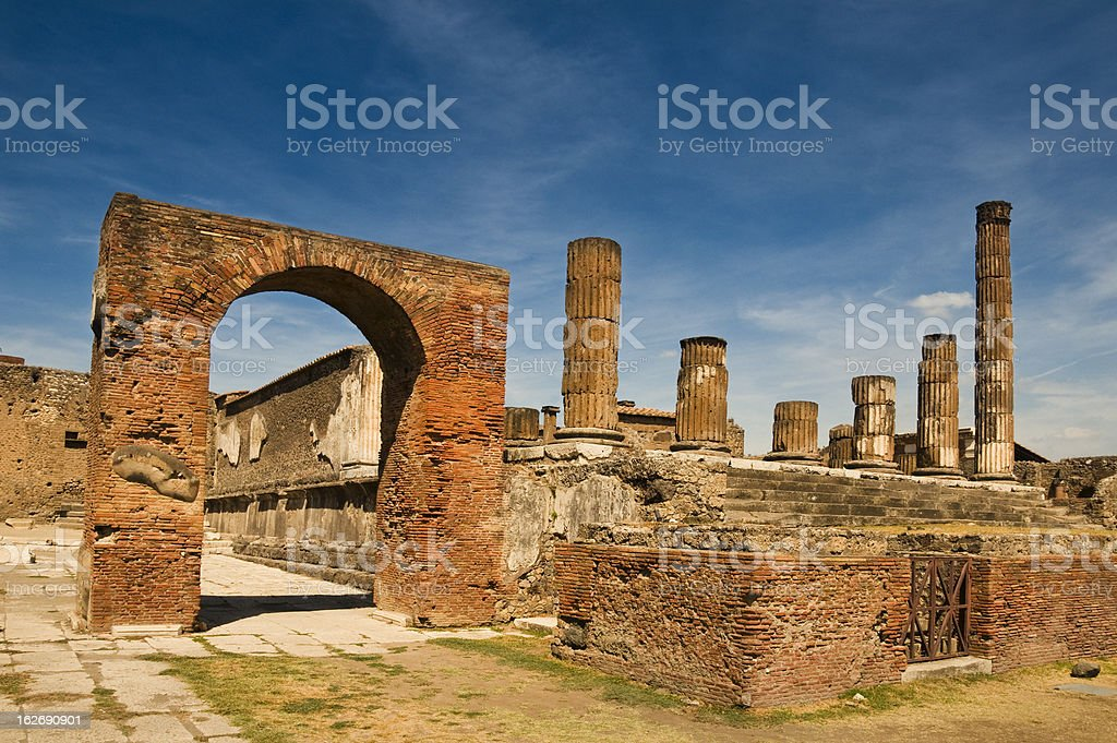 The antique site of Pompeii in the daytime stock photo