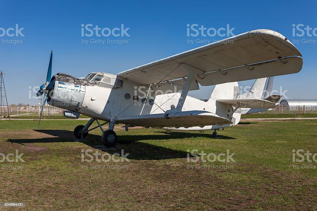 The Antonov An-2 is a Soviet mass-produced single-engine biplane stock photo