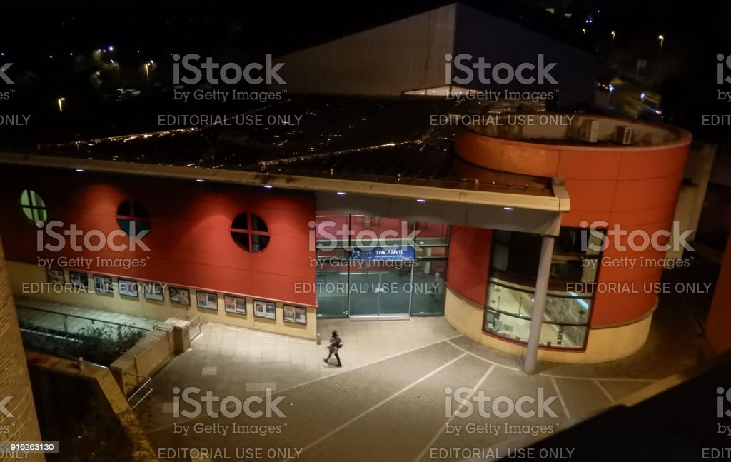 The Anvil Theatre at night stock photo