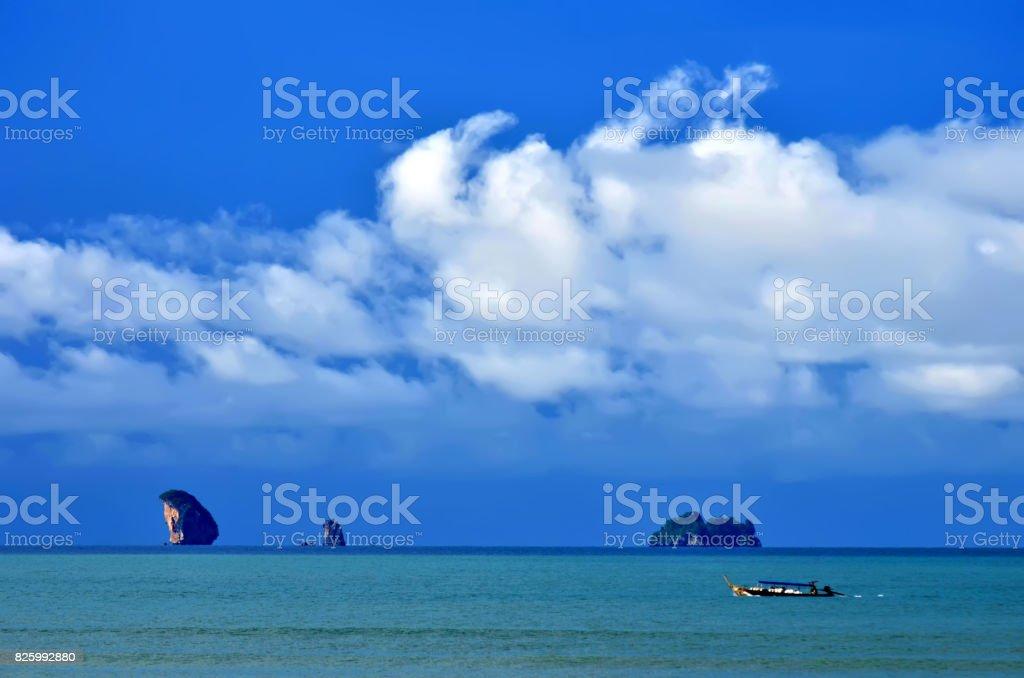 The Ao Nang bay seen from the beach stock photo