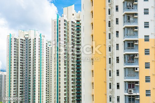 The appearance of tall residental apartment buildings in Hong Kong