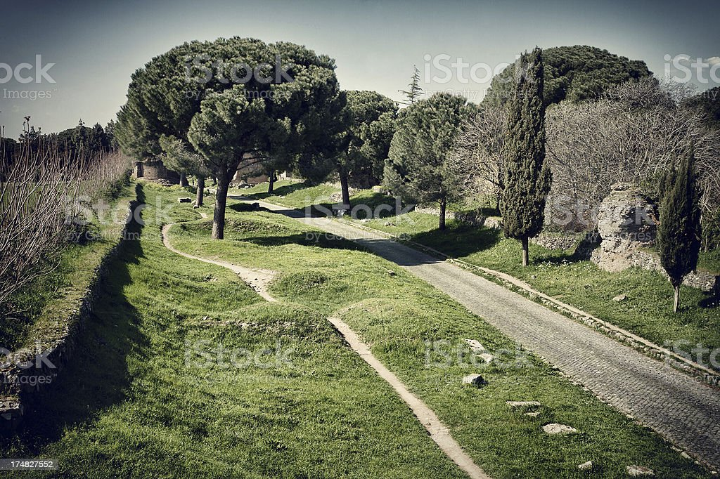 The Appian way in Rome, or Via Appia Antica royalty-free stock photo