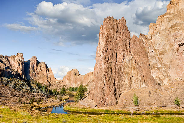 Smith Rock and the Crooked River stock photo
