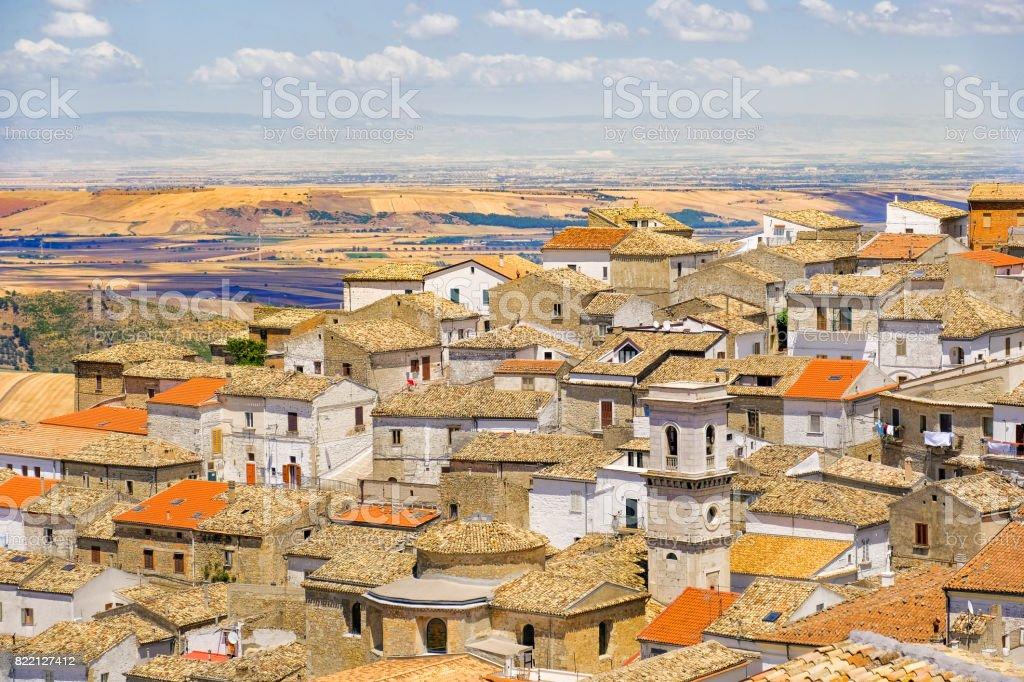 the apulia village of Bovino - Foggia province - Italy and the Tavoliere delle Puglie on the background stock photo