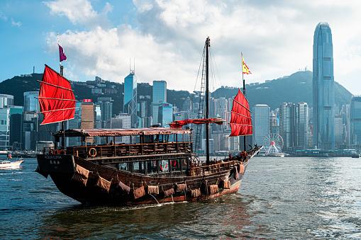 The Aqua Luna Sail Around Victoria Harbour Hong Kong Stock Photo - Download Image Now