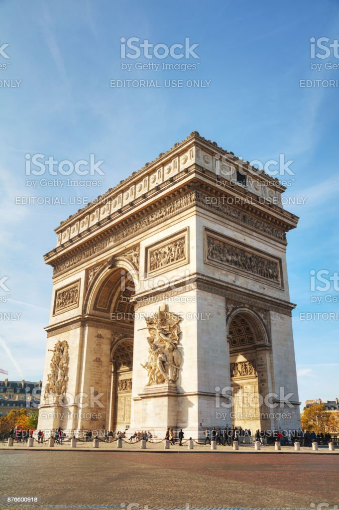The Arc de Triomphe de l'Etoile in Paris, France stock photo