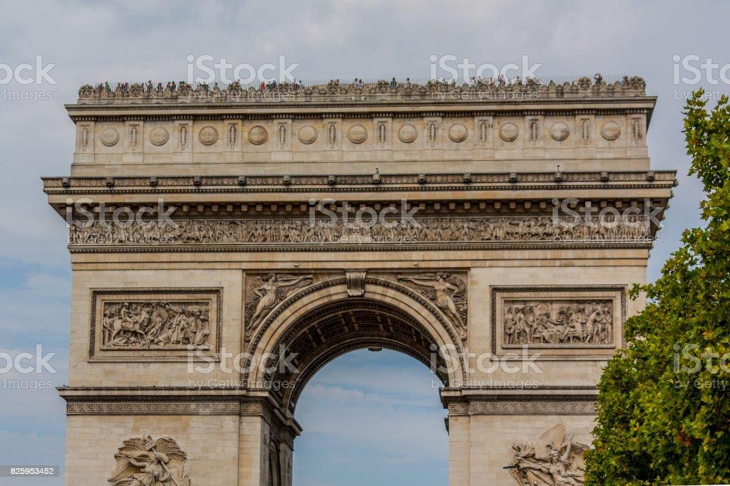 The Arc de Triomphe de l'Étoile (Triumphal Arch of the Star) at the western end of the Champs-Élysées, Paris, France stock photo