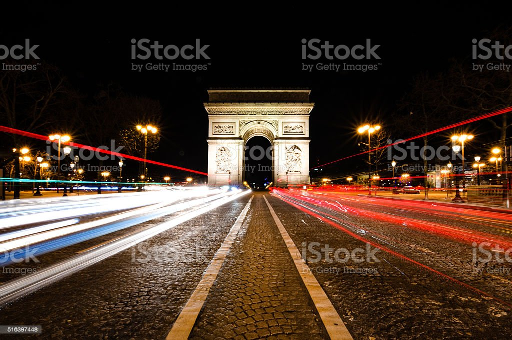 the arc de triomphe in paris france at night stock photo more