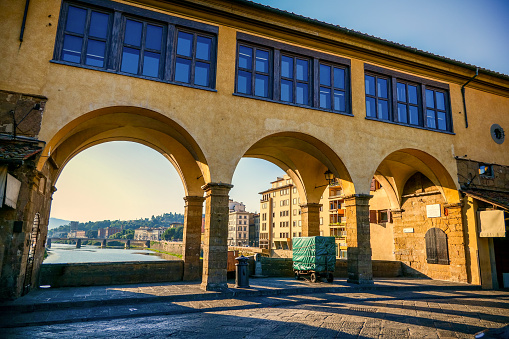 The arcade along Ponte Vecchio and the Vasari Corridor in the medieval heart of Florence
