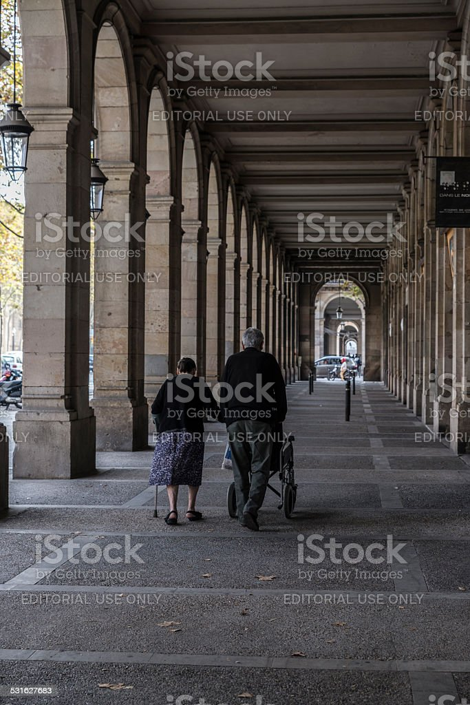 The arcades of Passeig Picasso, Barcelona stock photo