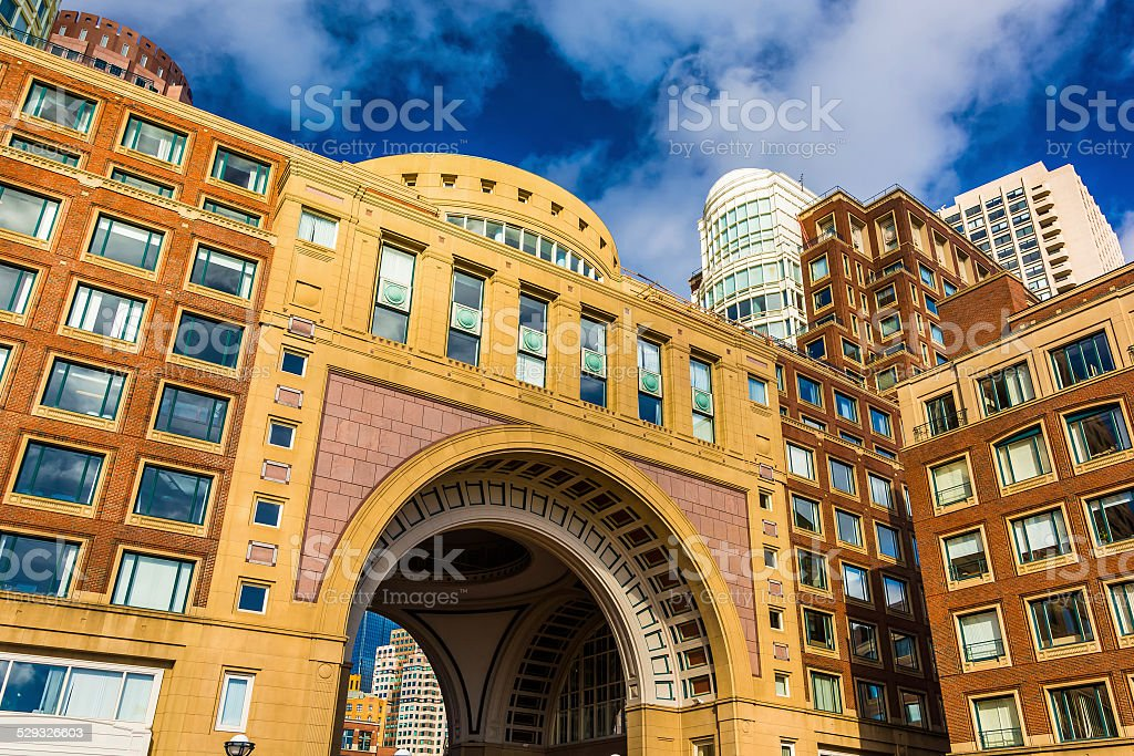 The arch and buildings at Rowes Wharf in Boston, Massachusetts. stock photo