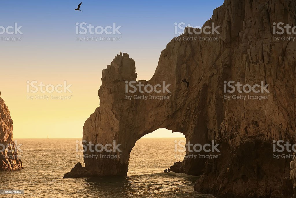 The Arch and Land's End at Sunset royalty-free stock photo