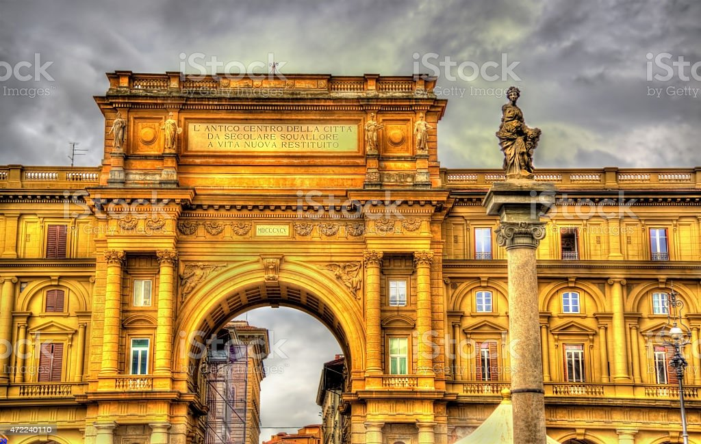 The arch and the Column of Abundance in Florence stock photo