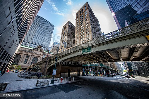 New York, New York - USA – May 15, 2020: The arch at Pershing Square across from Grand Central Terminal is empty of traffic due to health risks of COVID-19, Friday, May 15, 2020.