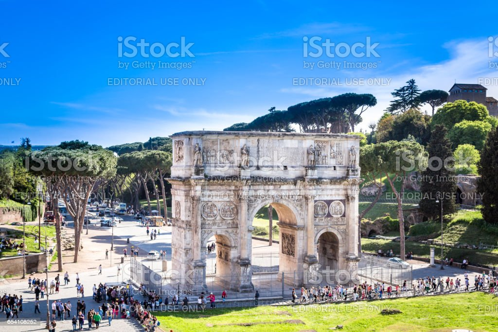 The Arch of Constantine, Rome. stock photo
