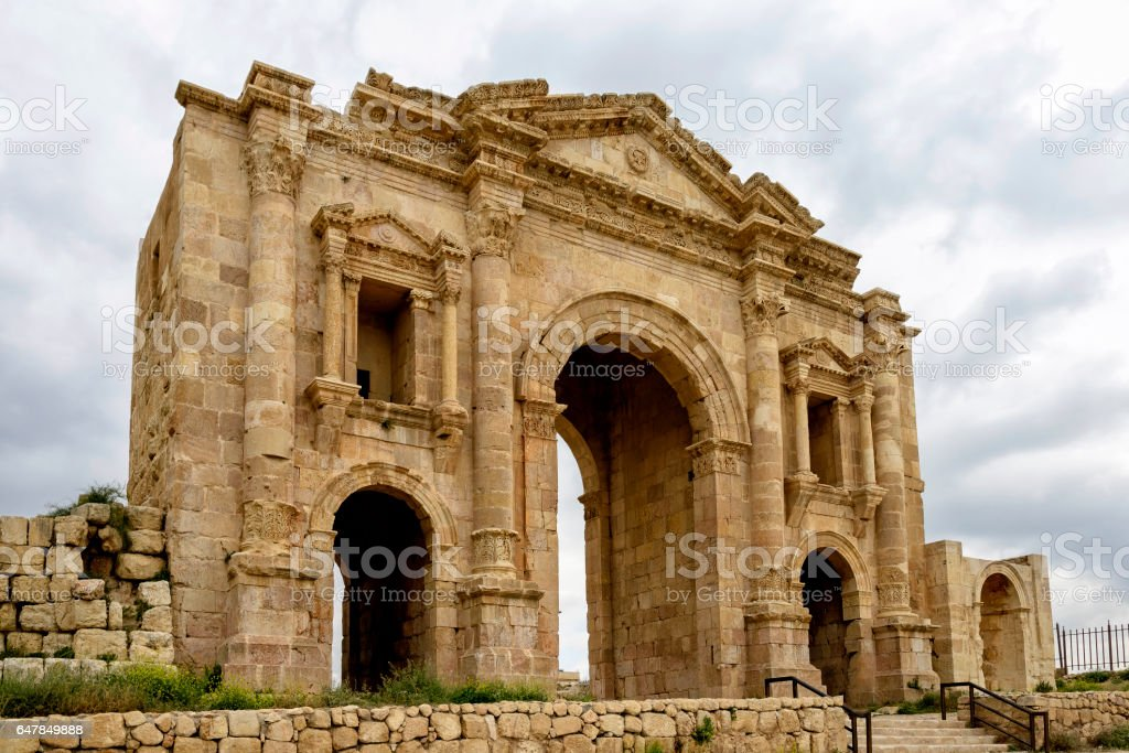 The Arch of Hadrian in Jeresh, Jordan stock photo