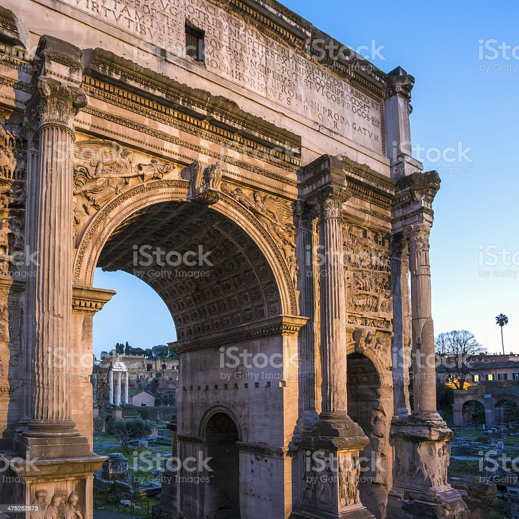 The Arch of Septimius Severus at dusk, Rome Italy stock photo