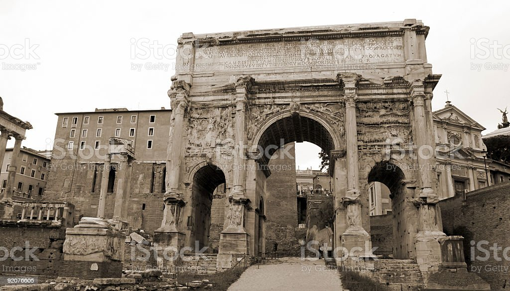 The Arch of Septimius Severus in Rome royalty-free stock photo