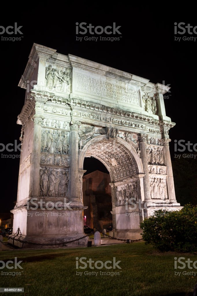 The Arch of Trajan illuminated in the night in Benevento (Italy) stock photo