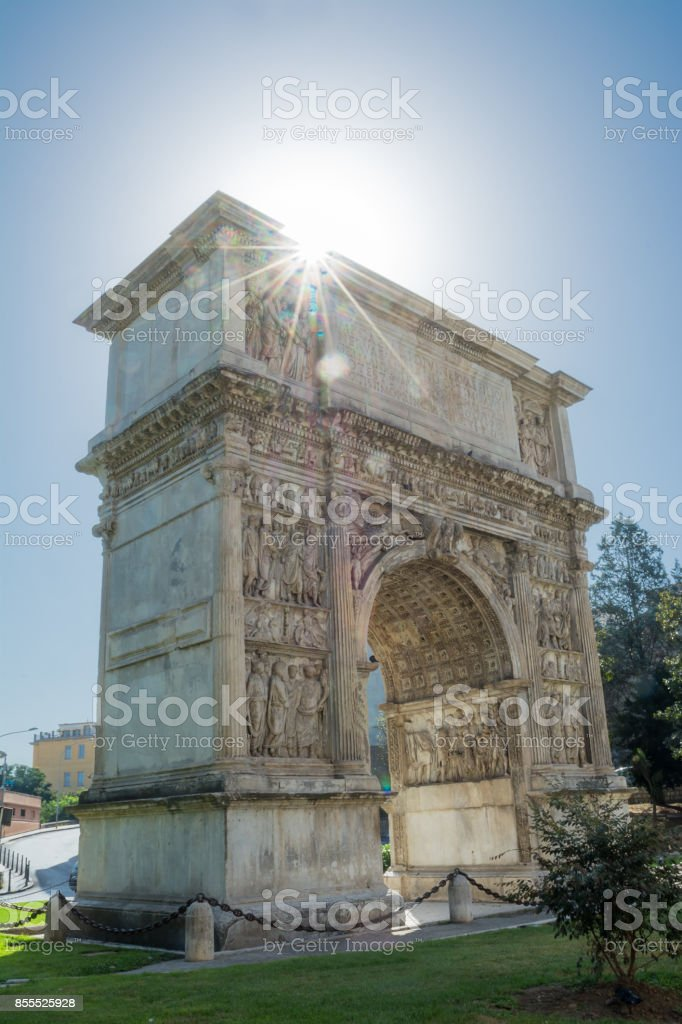 The Arch of Trajan in Benevento in backlight (Italy) stock photo