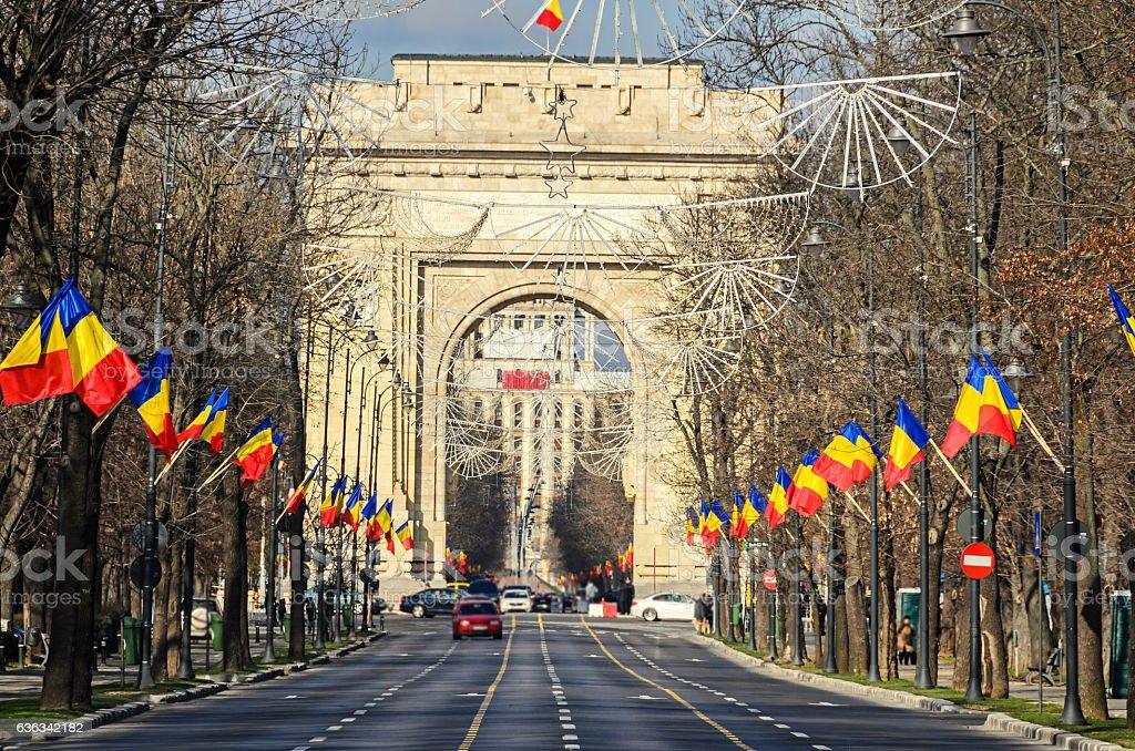 The Arch of Triumph (Arcul de Triumf) from Bucharest Romania stock photo