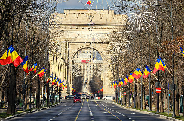 the arch of triumph (arcul de triumf) from bucharest romania - romania foto e immagini stock