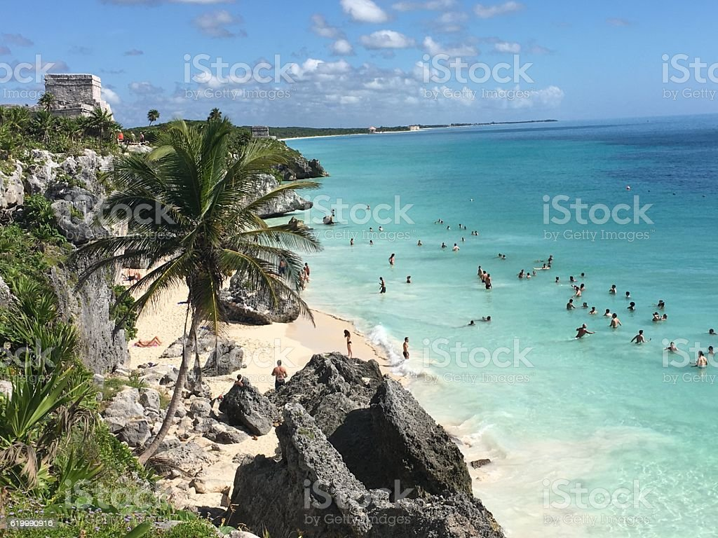 The archaeological ruins of Tulum stock photo