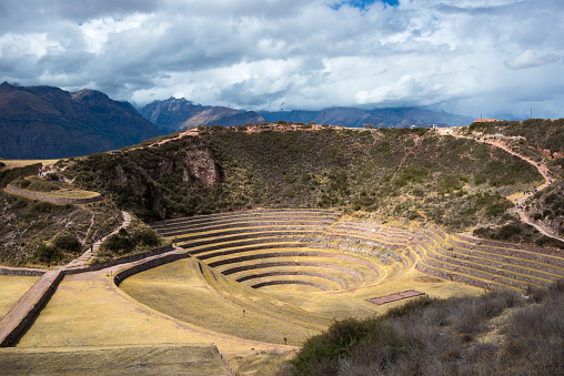 istock The archaeological site at Moray, travel destination in Cusco region and the Sacred Valley, Peru. Majestic concentric terraces, supposed Inca's food farming laboratory. 856501344