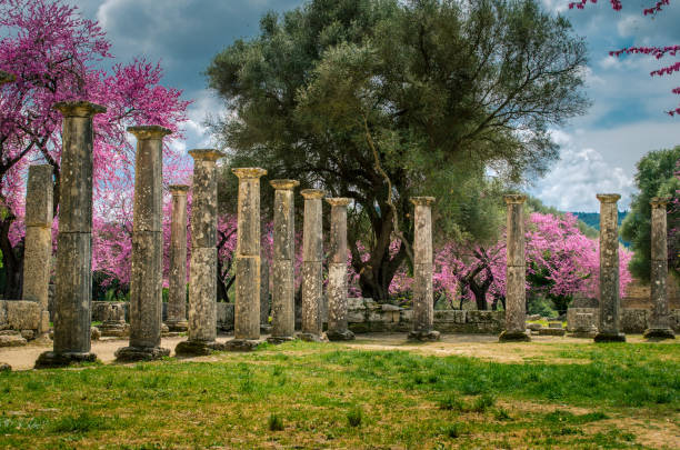 The archaeological site of ancient Olympia. stock photo
