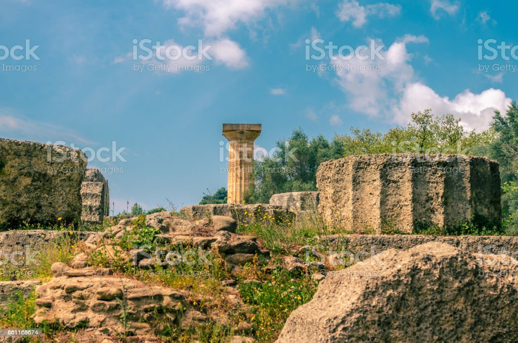 The archaeological site of ancient Olympia. The place where olympic games were born in classical times and where the Olympic torch today is ignited. stock photo