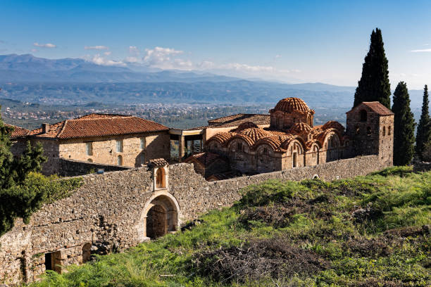 The archaeological site of Mystras in Greece stock photo