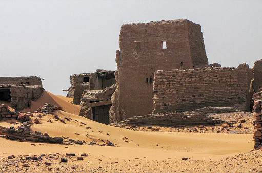 The archeological remains of the deserted town of Old Dongola, in the Nubian desert, in northern Sudan.