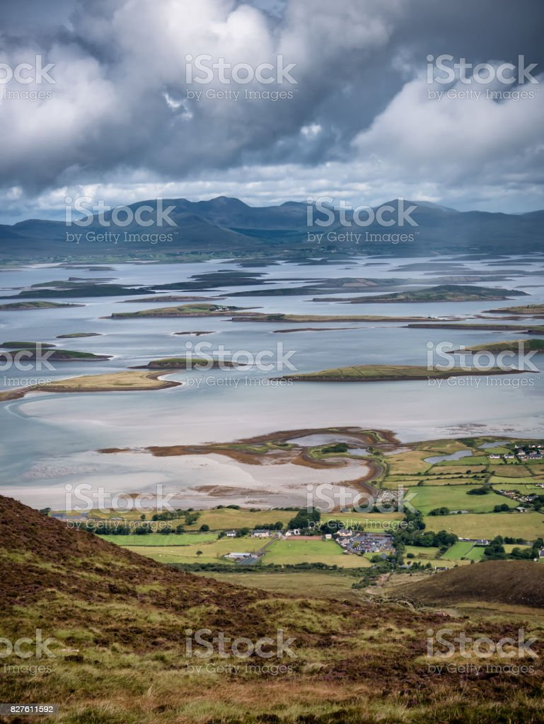 The archipelago near Westport from the road to Croagh Patrick, Ireland stock photo