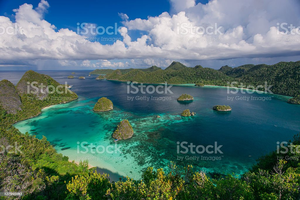 The archipelago of paradise islands in the ocean stock photo