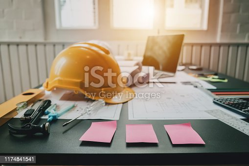 1174841541 istock photo The architect's desk was full of equipment and blueprints. 1174841541